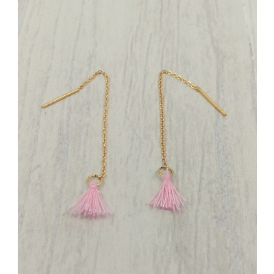 Boucles d'oreilles en acier doré, pompon rose