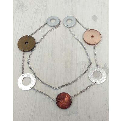 Collier sautoir marron avec anneaux