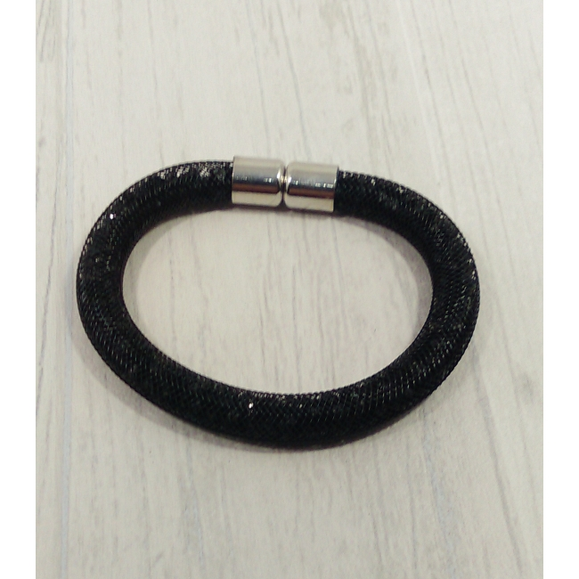Bracelet filet strass noir