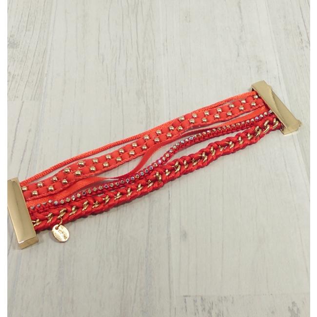 Bracelet multirangs rouge