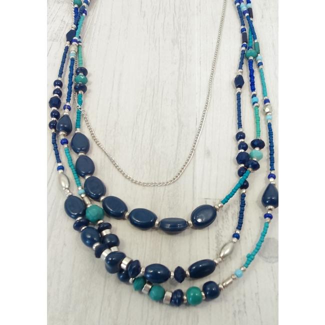 Colliers de perles bleues et vertes multirangs