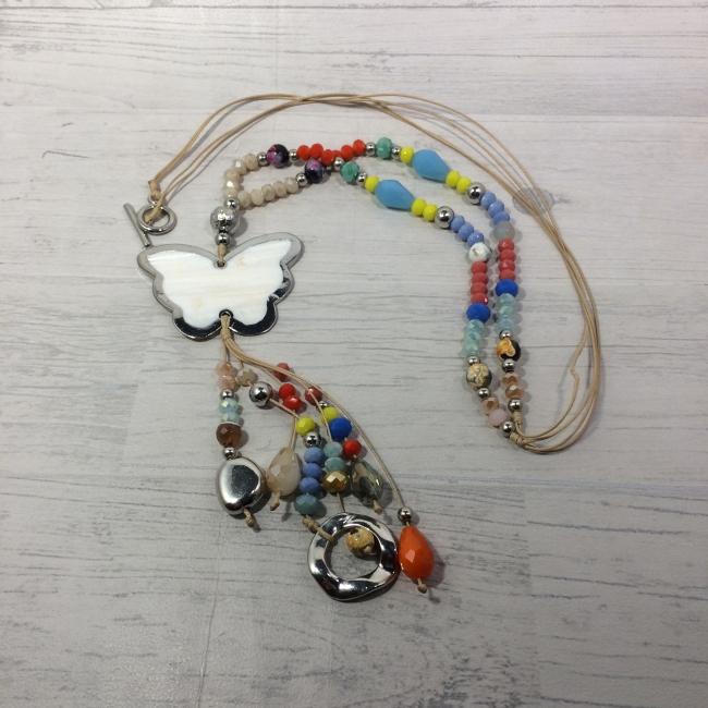 Collier sautoir perles, pierres, papillon en nacre