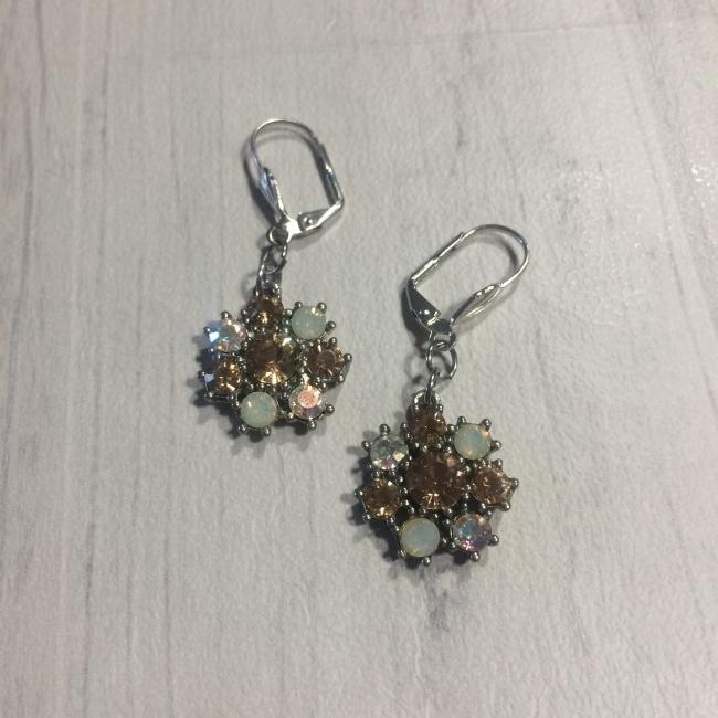 Boucles d'oreilles fleurs strass