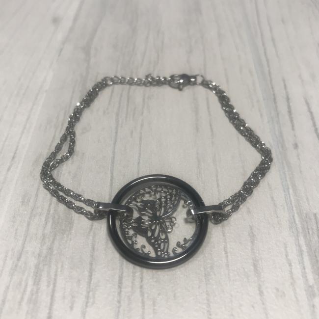 Bracelet en acier et papillon acier céramique noir