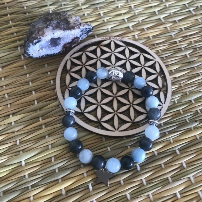 Bracelet en aigue marine et pierre de lune noire