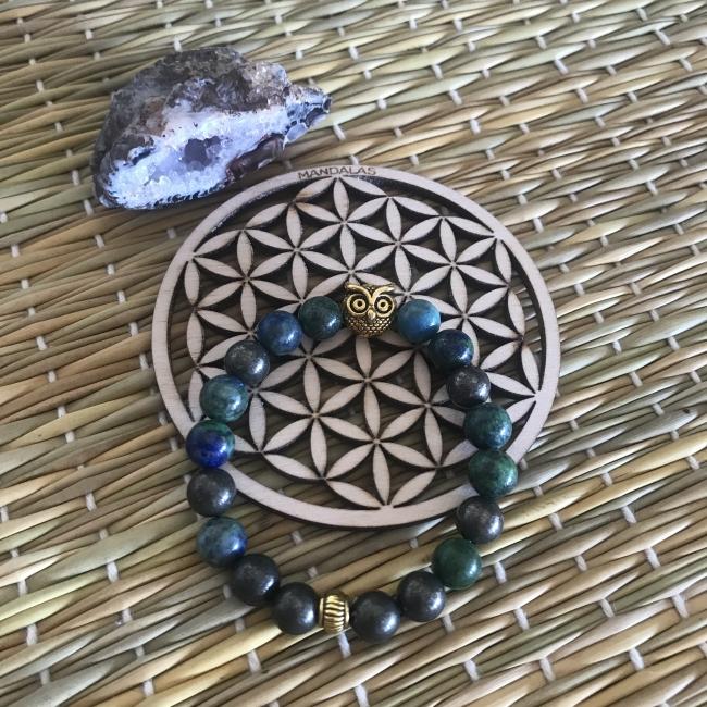 Bracelet en azurite et pyrite
