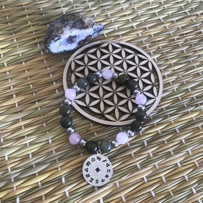 Bracelet en labradorite et quartz rose