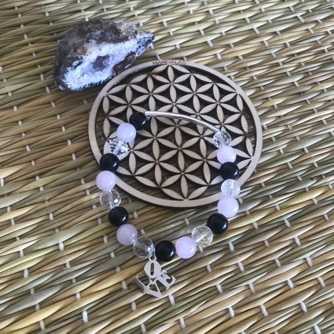 Bracelet en cristal de roche, quartz rose et obsidienne