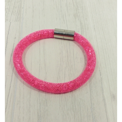 Bracelet filet strass rose