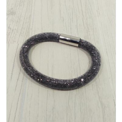 Bracelet filet strass gris foncé