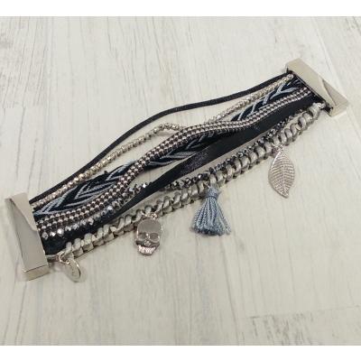 Bracelet multirangs noir et gris
