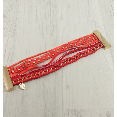 Bracelet multirangs rouge