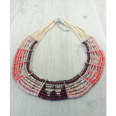 Collier de perles bleues et marron, métal argenté