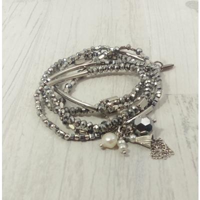 Bracelet argenté en pierres naturelles