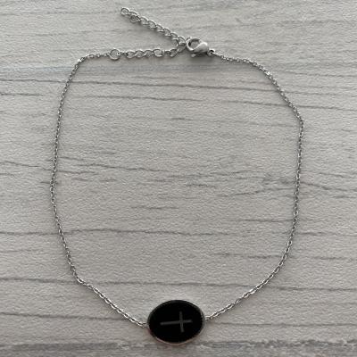 Bracelet de cheville croix argentée