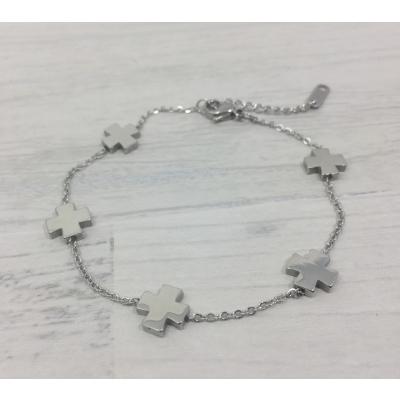Bracelet en acier motifs croix