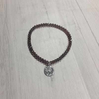 Bracelet en perles de cristal et arbre de vie