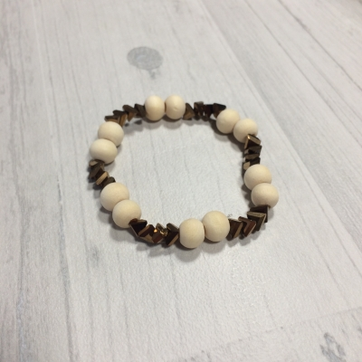 Bracelet perles mordorées et bois