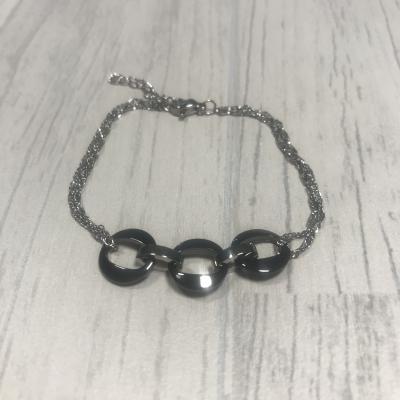 Bracelet en acier rond céramique noir