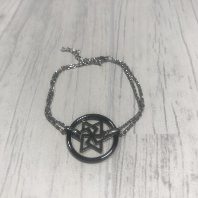 Bracelet en acier étoile céramique noir