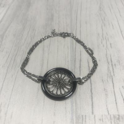 Bracelet en acier rosace céramique noir