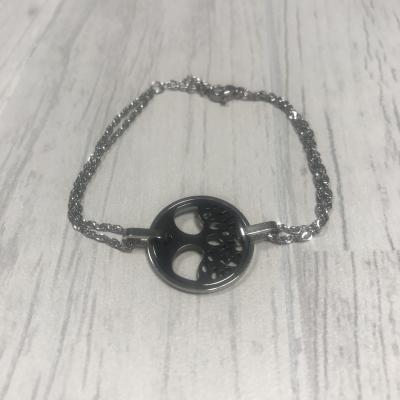 Bracelet en acier et arbre de vie céramique noir