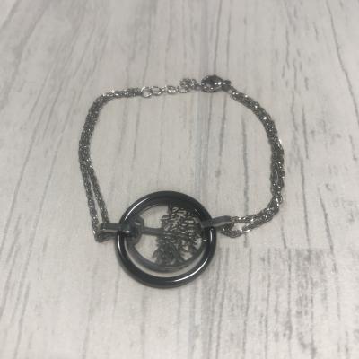 Bracelet en acier et arbre de vie acier céramique noir