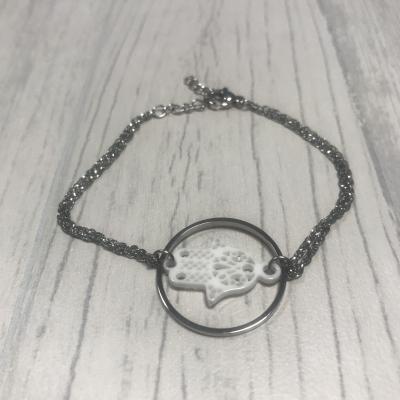 Bracelet en acier et main de Fatma céramique blanc