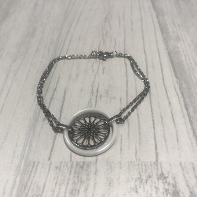 Bracelet en acier et rosace céramique blanc