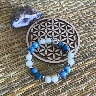 Bracelet en jade verte et apatite bleue