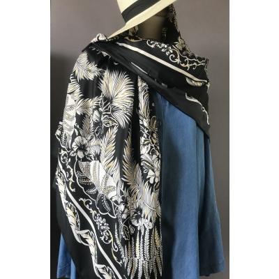 Foulard noir feuilles et dorure métal