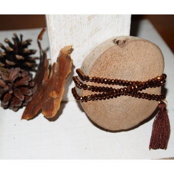 Bracelet de perles en cristal et pompon