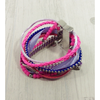 Bracelet multirangs rose et violet