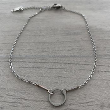 Bracelet de cheville cercle argenté