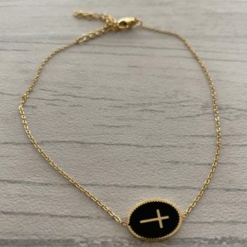 Bracelet de cheville croix dorée