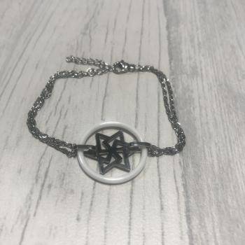 Bracelet en acier et étoile céramique blanc