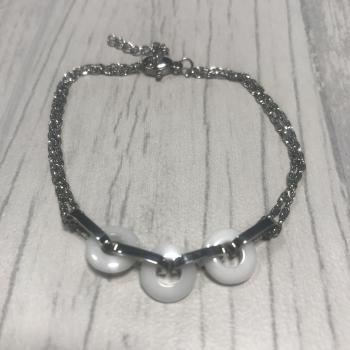 Bracelet en acier et petits cercles céramique blanc