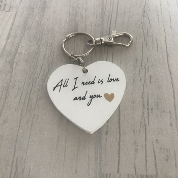 Porte-clés cœur blanc