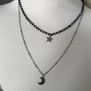 Collier argenté étoile et lune