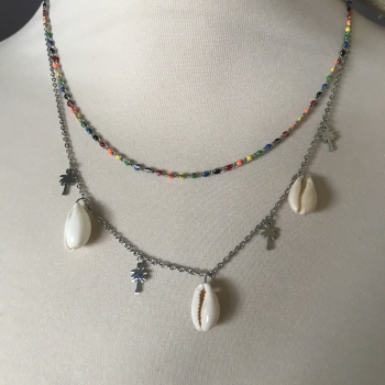 Collier argenté coquillages