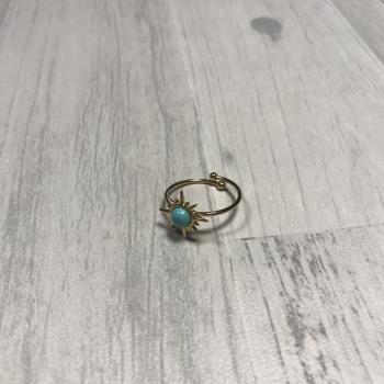 Bague soleil et pierre turquoise